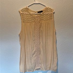 GNW Women's Sleeveless Gauze and Lace Top Size 2X